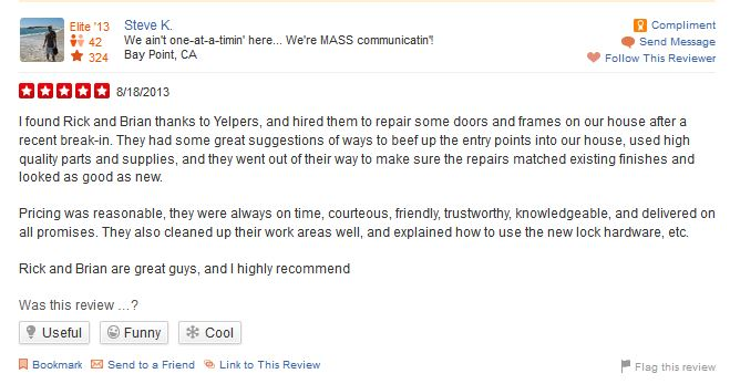 Yelp 5 star review for RB Handyman Services from a door repair job in Bay Point, CA.